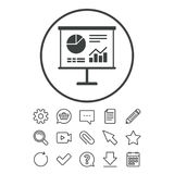 Presentation billboard sign icon. Diagram symbol. Presentation billboard sign icon. Scheme and Diagram symbol. Document, Chat and Paper clip line signs Stock Images