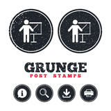Presentation billboard sign icon. Grunge post stamps. Presentation sign icon. Man standing with pointer. Blank empty billboard symbol. Information, download and Stock Image