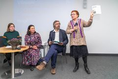 Presentation of the book `My friend Lapinskas` by russian writer V. Ogarkov about Lithuanian officer and deporte stock images