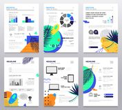 Presentation booklet - set of modern vector abstract templates. A4 pages on white background with place for your text, infographics, charts, information royalty free illustration