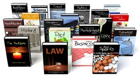 Presentation of books with various subjects Stock Photos