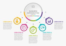 Free Presentation Business Circle Infographic Template With 5 Options. Royalty Free Stock Photography - 156288867