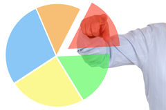Presentation of a business financial statistics pie chart diagra Royalty Free Stock Image