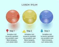 Presentation business-infographic template with 3 options 3d balls. Vector illustration. World decor Stock Photo
