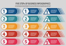 Presentation business infographic template with 5 steps vector illustration