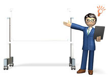 Presentation. Business man is making a presentation in front of the white board Royalty Free Stock Images