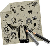 Presentation businessman hand draw on craft paper Royalty Free Stock Photos