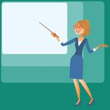 Presentation businesswomen shows on the screen. Presentation businesswomen shows the pointer on the screen royalty free illustration