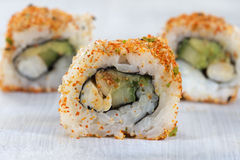 Presentation of Californian sushi rolls Royalty Free Stock Image
