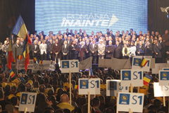 Presentation of the candidates of National Liberal Party. BUCHAREST, ROMANIA - November 06, 2016: Thousands of supporters and fans wave flags and signs at the royalty free stock photography