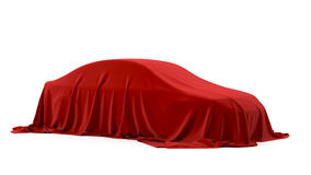 Presentation of the car. Autoshow. Car under the tissue Royalty Free Stock Photo
