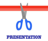 Presentation card. Scissors and Cutting Red Ribbon Royalty Free Stock Image