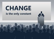 Presentation change. Presentation about change being the only constant in life and work stock illustration