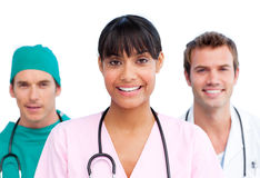 Presentation of a cheerful medical team Stock Photo