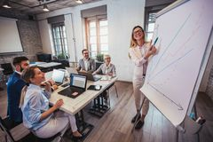 Presentation by business people in office stock photography