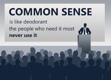 Common sense. Presentation about common sense and the link with deodorant Stock Image