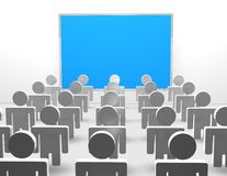 Presentation concept illustration with blue board and 3d people Stock Image