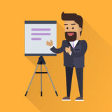 Presentation Concept Vector In Flat Style Design. Smiling man in business suit taking lecture with flipchart or projector screen on  tripod. Speaker at science Stock Photo