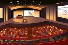 Presentation in a conference in an auditorium. A vector illustration of a presentation in a conference in an auditorium stock illustration
