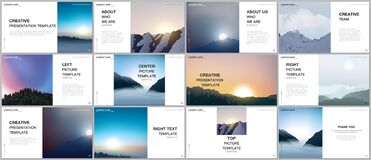 Free Presentation Design Vector Templates, Multipurpose Template For Presentation Slide, Brochure Cover, Report. Fog, Sunrise Royalty Free Stock Images - 196117769