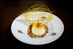 Amaretto mousse. Presentation of the dessert amaretto mousse Stock Photo