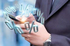 Presentation of discounts on the mobile device . Stock Photo
