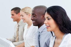 Presentation of a diverse business team at work stock photography