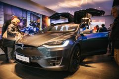 Berlin, October 2, 2017: Presentation of an electric vehicle Tesla model X at the Tesla motor show in Berlin. Presentation of an electric vehicle Tesla model X royalty free stock photos