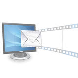 Presentation and email from monitor. View of presentation and email from monitor Royalty Free Stock Image
