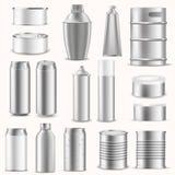 Presentation för advertizing för mall 3d för tomma packeaskar som realistisk blockerar för emballagevektor för silver den alumini Fotografering för Bildbyråer