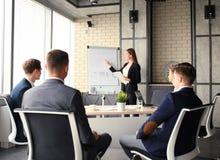 Presentation för affärskonferens med kontoret för lagutbildningsflipchart Arkivbild