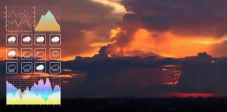 Presentation för data för symbol för väderprognos med grafen och diagrammet royaltyfria bilder