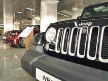 Presentation för jeep för visningslokal för bil för bil för begrepp för transport för Ukraina Kiev Januari 21 2018 kapacitetsbil  arkivfoton