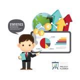 Presentation för man för konferens för affärsdesign infographic, trainin royaltyfri illustrationer