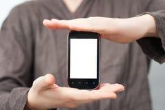 Presentation för pekskärmtelefon Arkivbild
