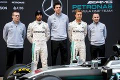 PRESENTATION 2016 FÖR SÄSONG F1 AV DET MERCEDES AMG F1 LAGET Royaltyfri Fotografi