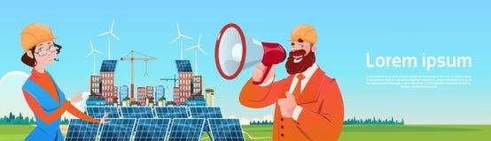 Presentation för station för panel för sol- energi för tribun för vind för grupp för affärsfolk förnybar royaltyfri illustrationer