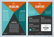 Presentation för vektorreklamblad, för företags affär, årsrapport-, broschyrdesign- och räkningsmed den blåa och orange triangeln arkivfoto
