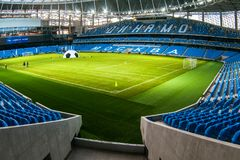 Presentation of the field at the newly constructed Dynamo Stadium in Moscowe. Russia, Moscow, October 2017: Presentation of the field at the newly constructed royalty free stock photography