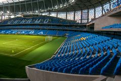 Presentation of the field at the newly constructed Dynamo Stadium in Moscowe. Russia, Moscow, October 2017: Presentation of the field at the newly constructed stock photos