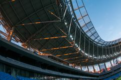 Presentation of the field at the newly constructed Dynamo Stadium in Moscowe. Russia, Moscow, October 2017: Presentation of the field at the newly constructed stock image