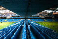 Presentation of the field at the newly constructed Dynamo Stadium in Moscowe. Russia, Moscow, October 2017: Presentation of the field at the newly constructed stock photography