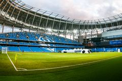Presentation of the field at the newly constructed Dynamo Stadium in Moscowe. Russia, Moscow, October 2017: Presentation of the field at the newly constructed stock images