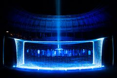 Presentation of the field at the newly constructed Dynamo Stadium. In Moscowe royalty free stock photos