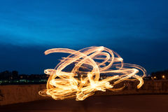 Presentation with fiery light painting streaks Stock Photography