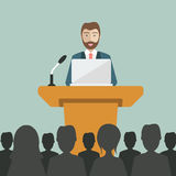 Presentation. Flat modern design of Chinese Businessman giving a presentation. Flat  design Royalty Free Stock Photos
