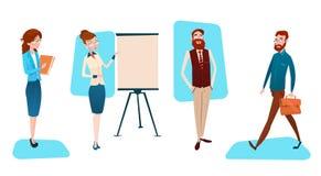 Presentation Flip Chart, Businesspeople Team Training Conference Meeting för grupp för affärsfolk vektor illustrationer
