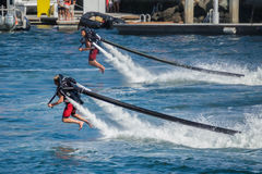 Presentation of flyboard in Long Beach Royalty Free Stock Image