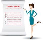 Presentation girl. Illustration of presentation girl with paper data royalty free illustration