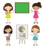 Presentation Girl. Teacher or businesswoman giving presentation Stock Photos